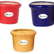 Ceramic Pot for Succulents, Cactus, Table Top (Small, Red, Blue & Yellow  Colour)