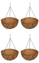 """Coco Hanging Round Basket with Liner 14"""" (4 pcs)"""