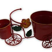 Wrought Iron Double Pot Cycle stand, Red