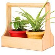 Wooden Planter with 2 Ceramic Pots (Red & Yellow)