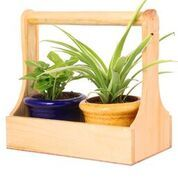Wooden Planter with 2 Ceramic Pots (Yellow & Blue)