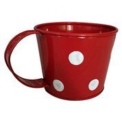 Metal Cup Shaped Planter with Polka Dot (Red)