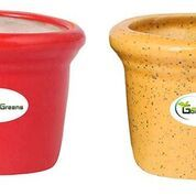 Ceramic Pot for Succulents, Cactus, Table Top (Small, Red & Yellow Colour)